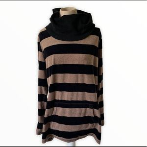 Calvin Klein striped cowl neck velour sweatshirt